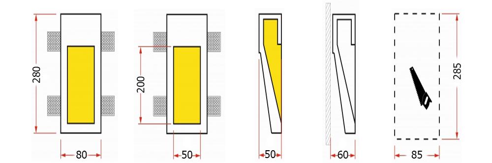 svetilniki vstroennie v stenu razmer ST-007-1